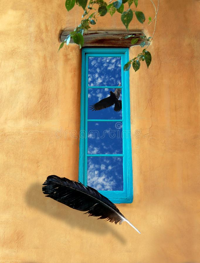 Fly Away, Turquoise Window with Floating Feather. Conceptual image representing an aspect of the spirit. The window is both inside and outside, reflecting the royalty free stock images