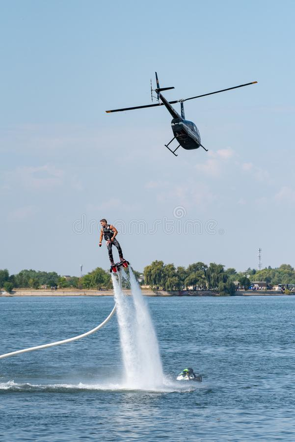 Fly board extreme sports adventure , summer beach sports stock photography
