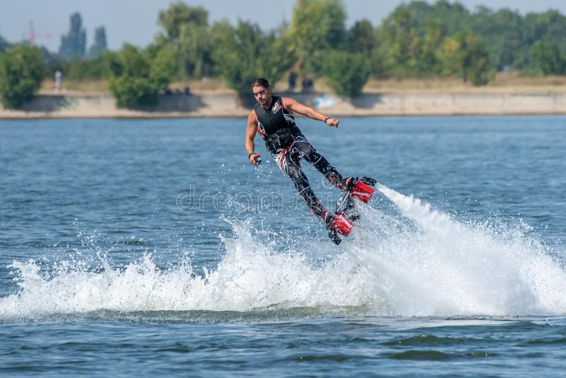 Fly board extreme sports adventure , summer beach sports stock photos