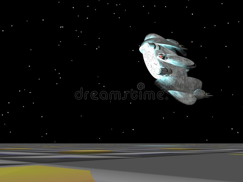 Fly-by della nave spaziale illustrazione vettoriale