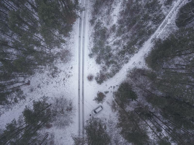 Fly with the drone over winter tales with snow royalty free stock photos