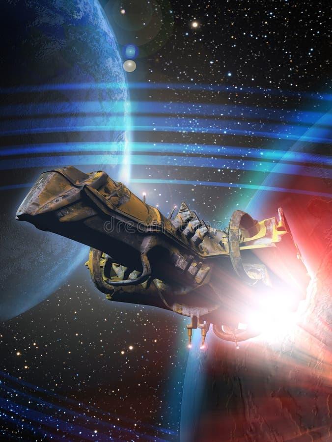Fly för rymdskepp stock illustrationer