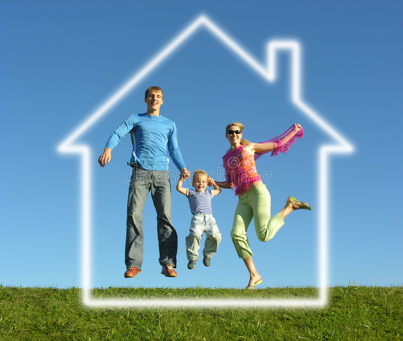 Fly family with dream house stock photos