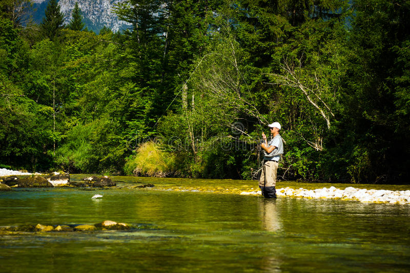 Fly Fisher royalty free stock image