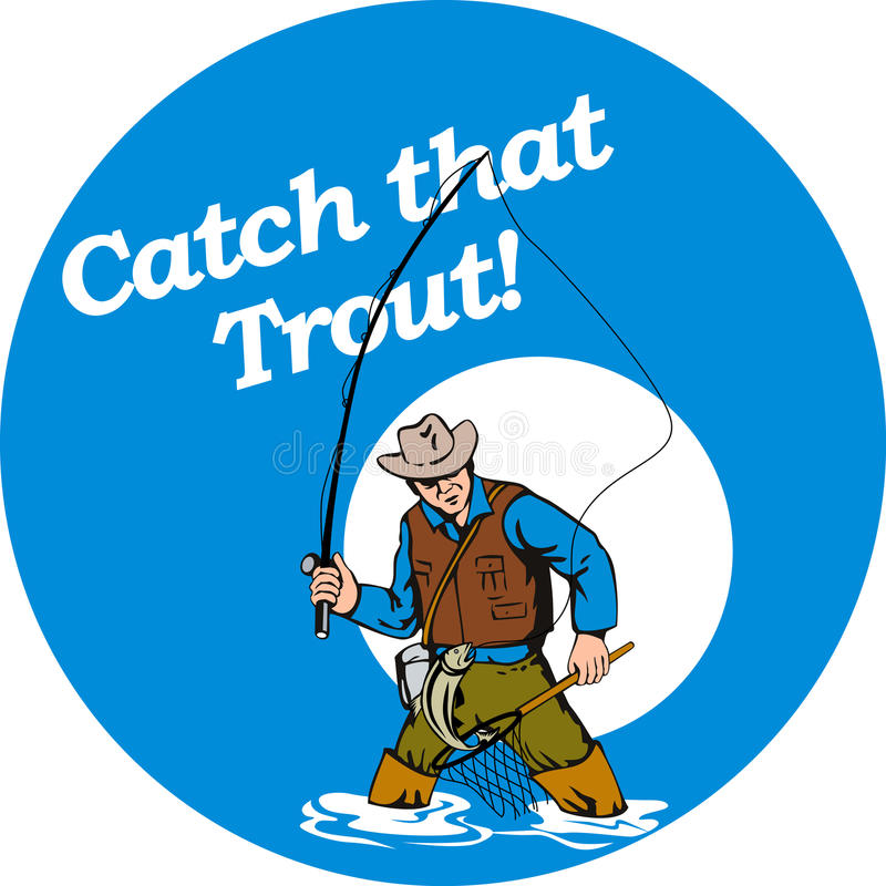Download Fly Fisherman Catching Trout Stock Illustration - Illustration of hook, hooking: 15908342
