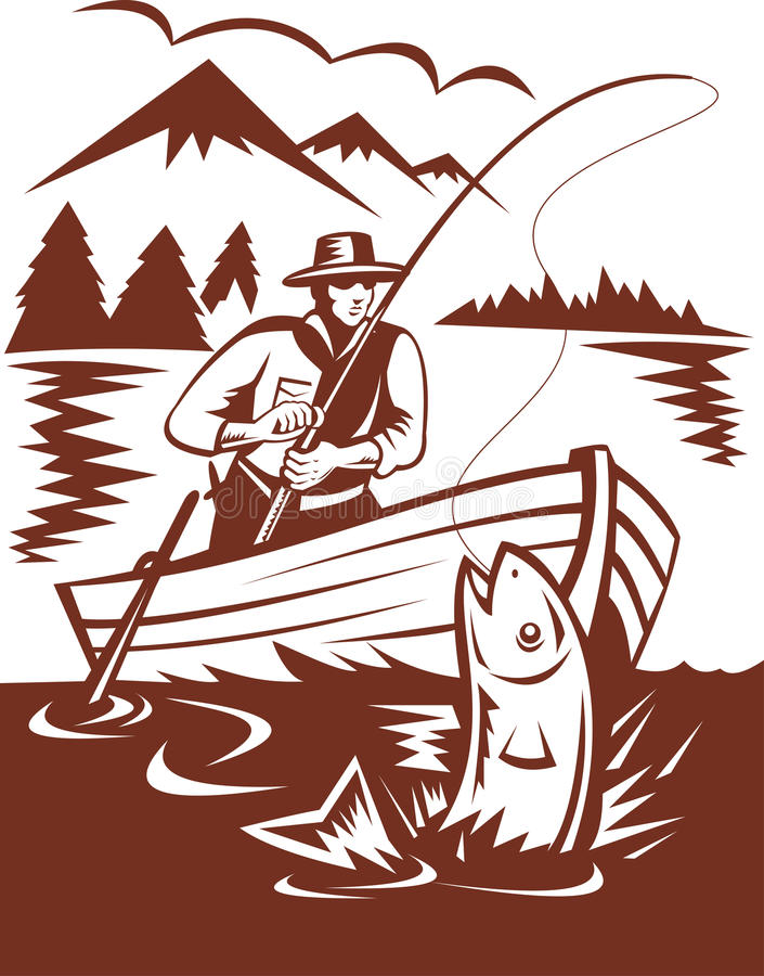 Fly fisherman catching trout boat. Illustration of a Fly fisherman catching trout on boat done in woodcut style stock illustration