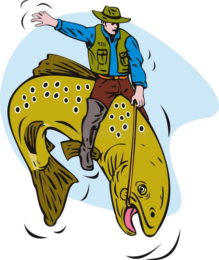 Fly Fisherman Riding Trout Fish Cartoon Stock Vector