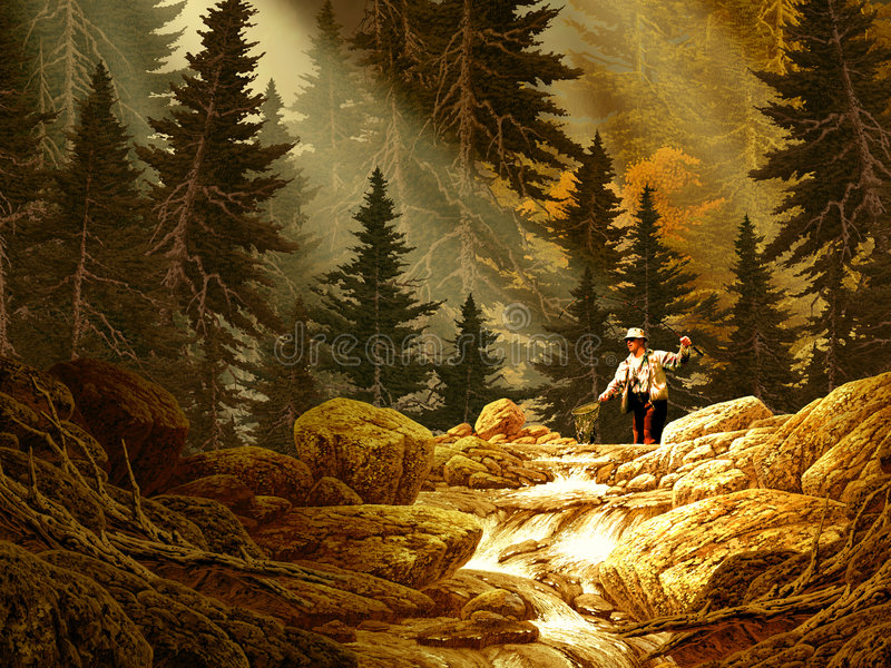 Fly Fisherman in the Rocky Mountains. Image from an original 18x24 painting by Larry Jacobsen. / AF-069 royalty free illustration