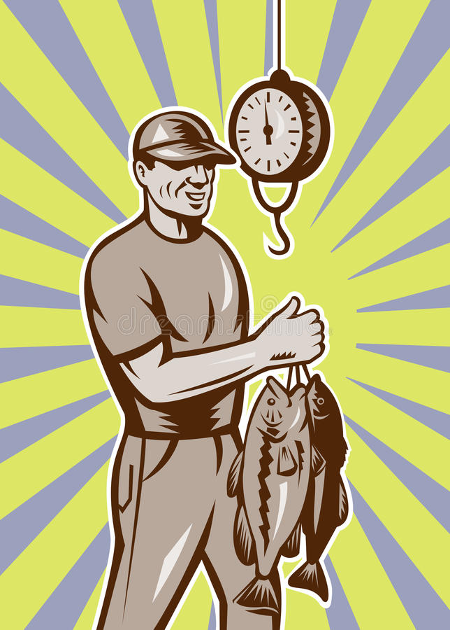 Fly Fisherman weighing in fish catch. Illustration of a Fly Fisherman weighing in fish catch with sunburst in background done n retro style vector illustration