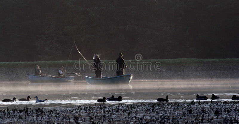 Download Fly fishing stock image. Image of boat, morning, pond - 1311265