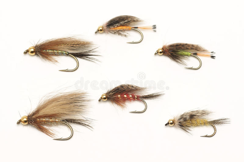 Fly fishing, bait on a white background. Fly fishing, bait, on a white background stock photos