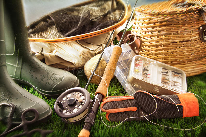 Download Fly Fishing Equipment On Grass Stock Image - Image of recreational, bass: 26007519