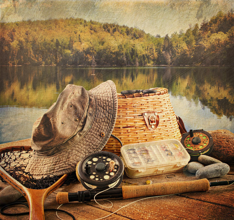 Download Fly Fishing Equipment  With Vintage Look Stock Photo - Image: 21199390