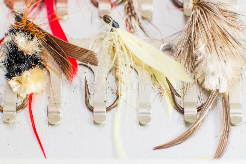 Fly fishing lures royalty free stock images