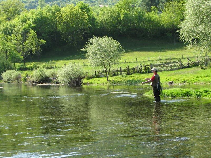 Fly-fishing on Ribnik stock photos