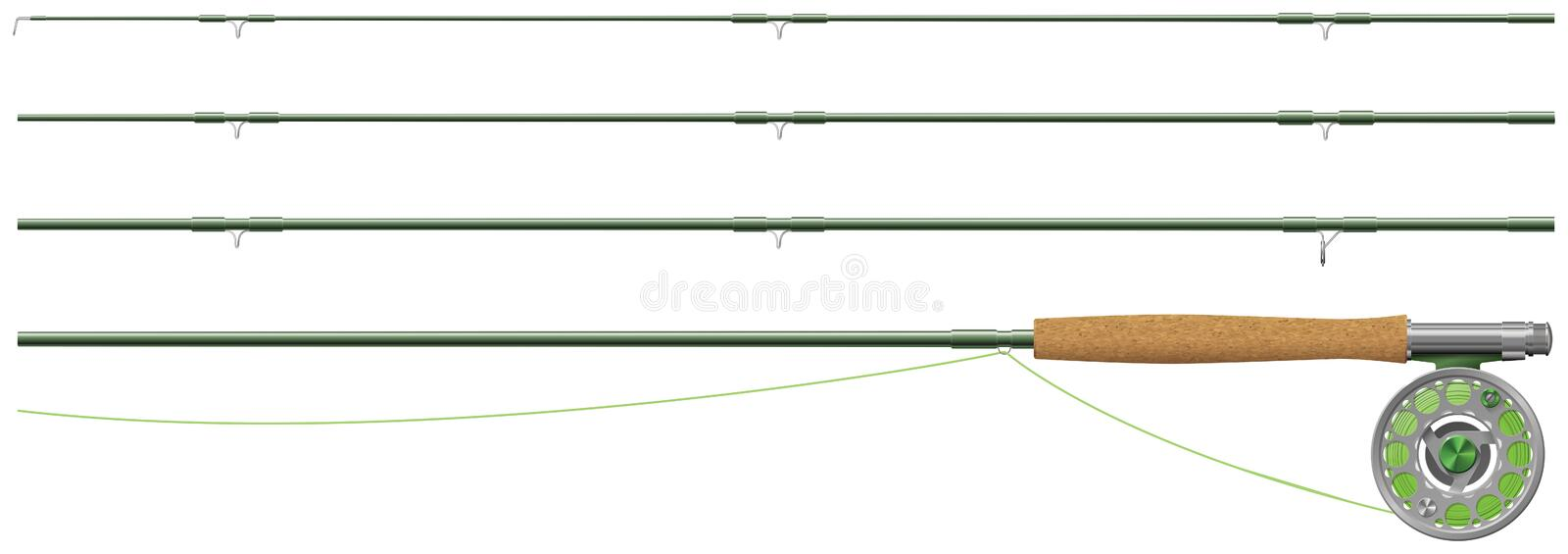 Fly fishing rod and reel. In sections. Some transparencies are used in the eps 10 file royalty free illustration