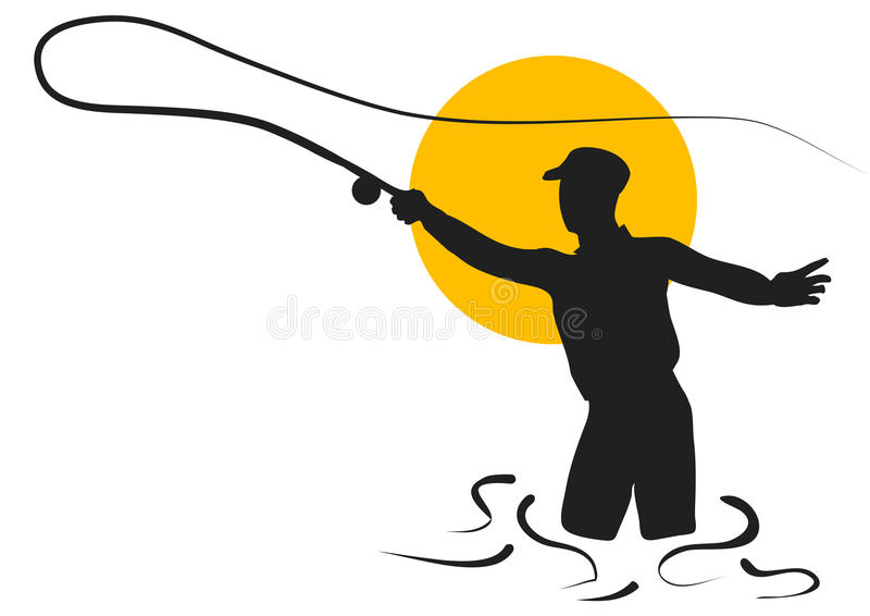 Fly fishing. Silhouette of man isolated on white background vector illustration