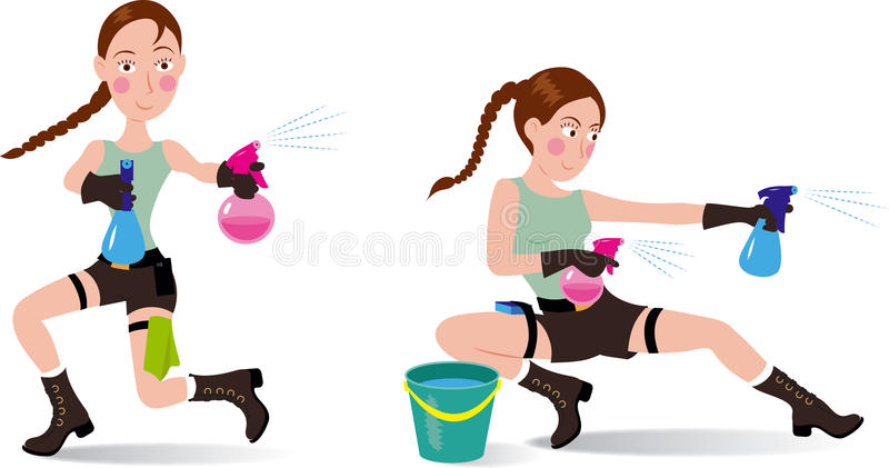 Fly lady happy cleaning Lara Croft. Fly lady cute happy cleaning lady Lara Croft stock illustration