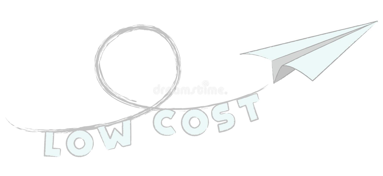 Fly low cost vector. Paper airplane, low cost airlines and cheap tickets + vector eps file royalty free illustration