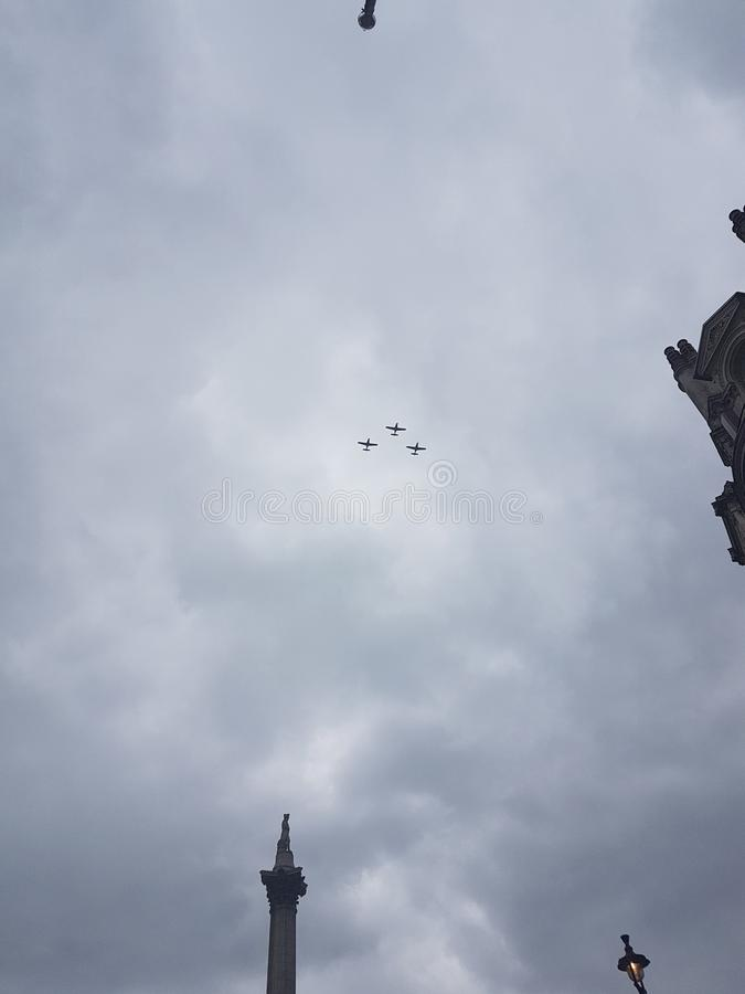 Fly past of 100 aircrafts to celebrate the Centenary of the Royal Air Force in London royalty free stock image