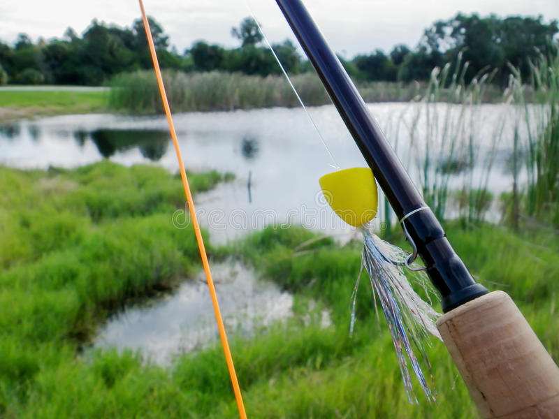 Fly Rod at a Pond. A fly rod with a large mouth bass frog popper over looking a pond royalty free stock photography
