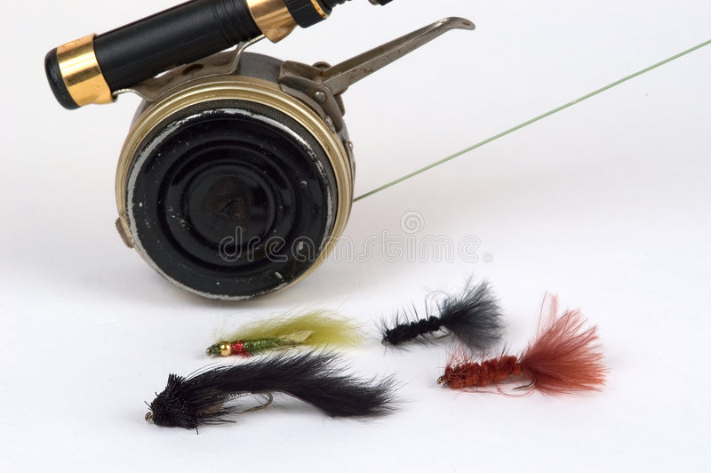 Fly rod, reel and flies royalty free stock photos