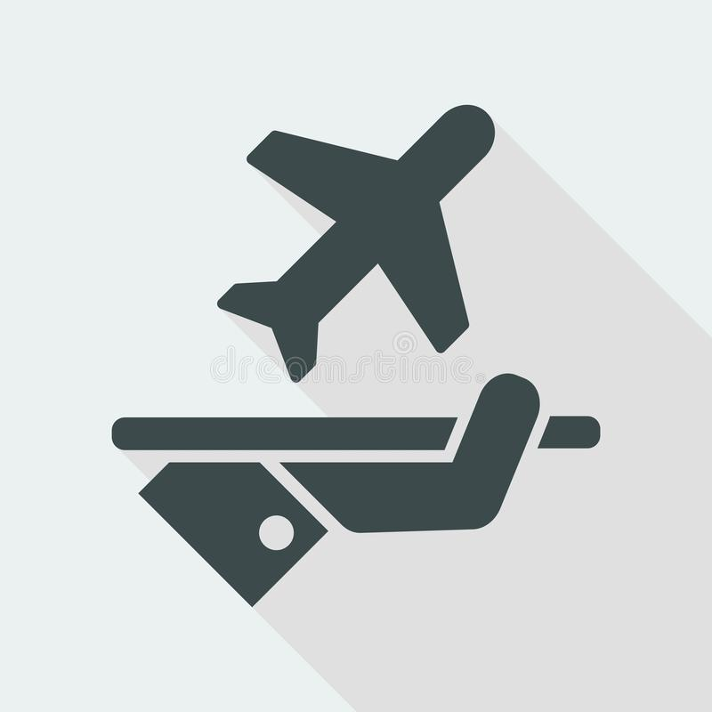 Fly services. Flat and isolated vector eps illustration icon with minimal design and long shadow royalty free illustration