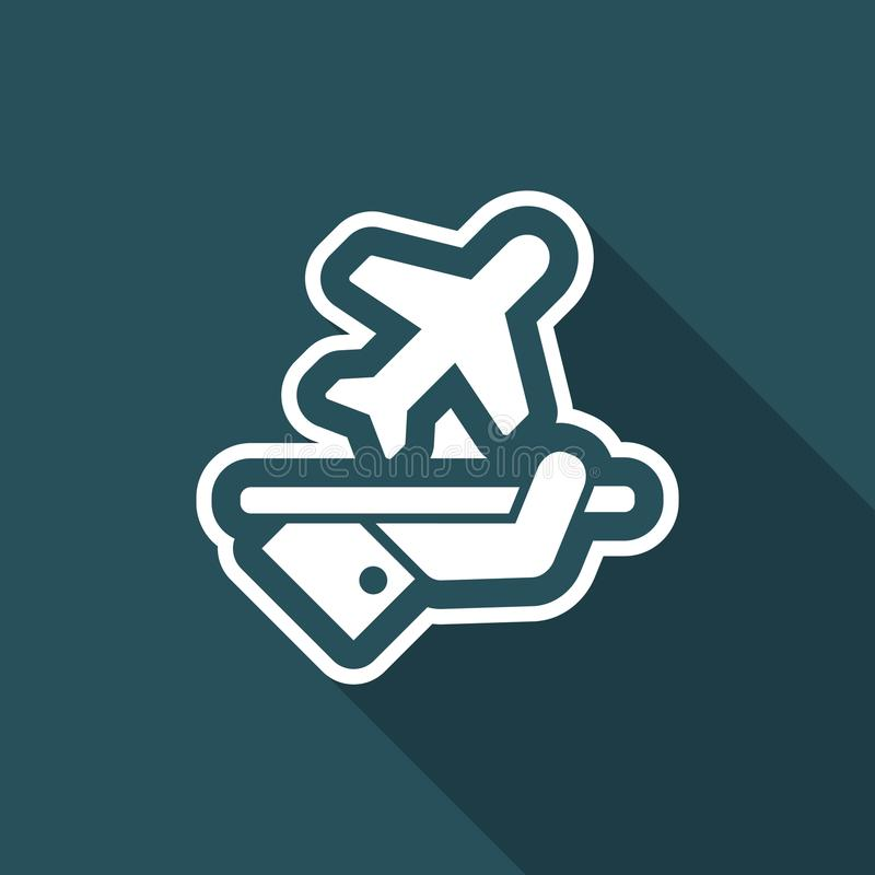 Fly services. Flat and isolated vector eps illustration icon with minimal design and long shadow vector illustration