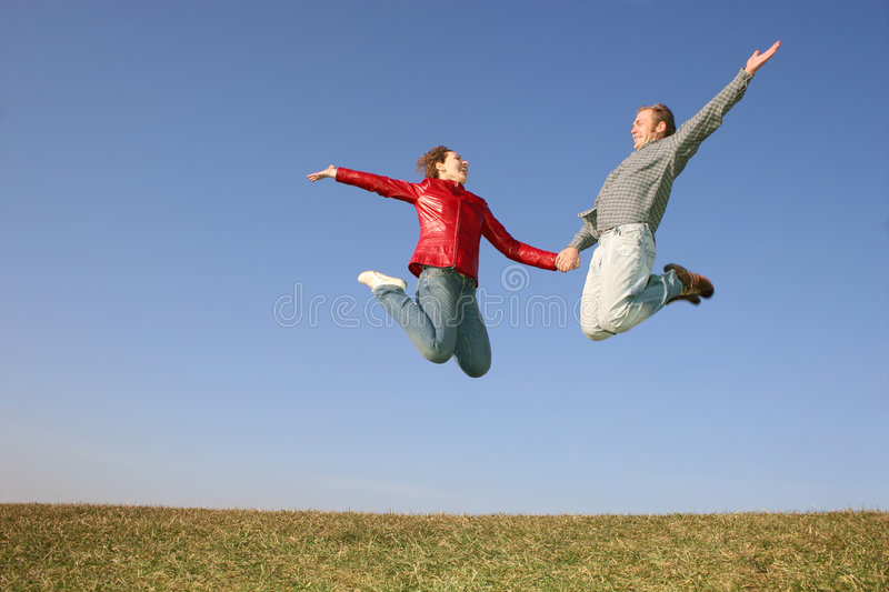 Download Fly spring couple stock image. Image of body, freedom - 2149983