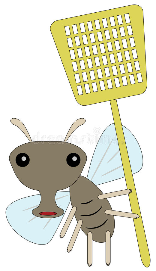Fly and swatter royalty free illustration