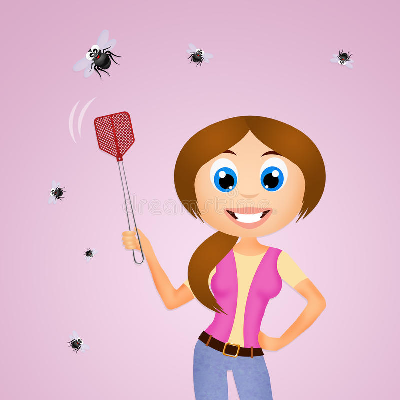 The fly swatter royalty free illustration