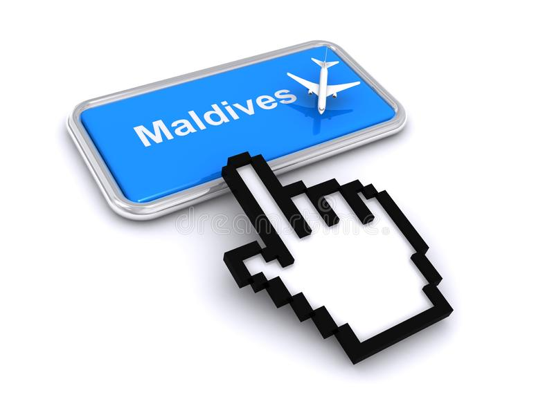 Fly to maldives vector illustration