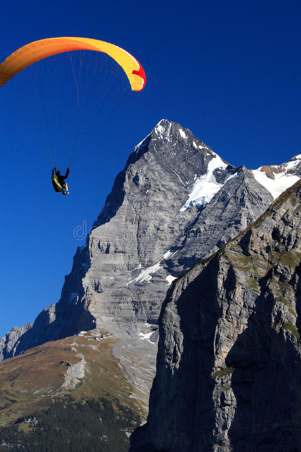Fly towards Eiger Wall royalty free stock photos