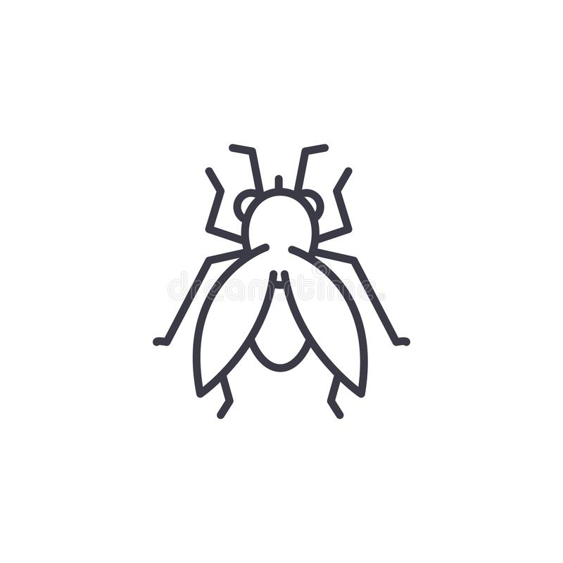 Fly vector line icon, sign, illustration on background, editable strokes. Fly vector line icon, sign, illustration on white background, editable strokes royalty free illustration