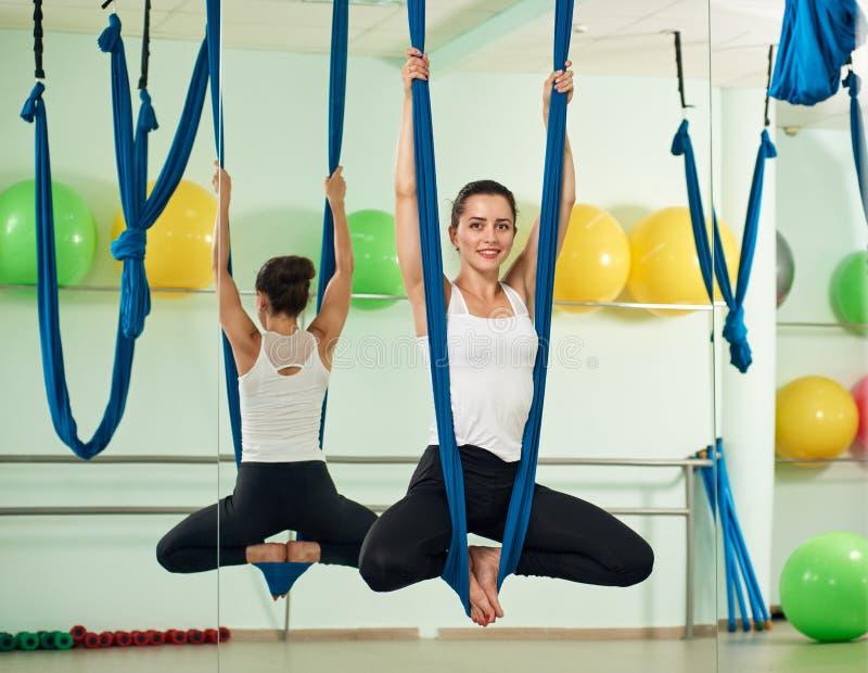 Fly yoga girl stock photography