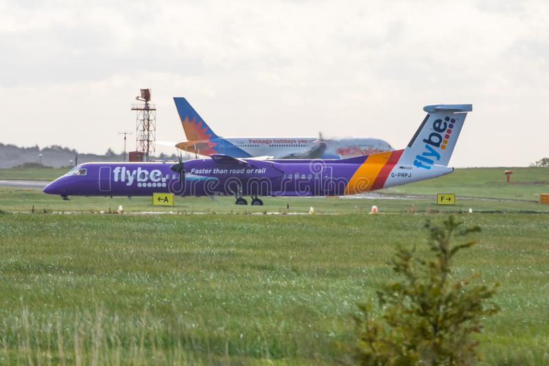 Flybe airplane at Leeds Bradford Airport stock image