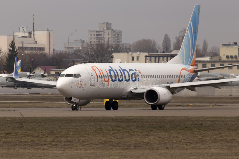 Flydubai Boeing 737 Next Gen aircraft running on the runway royalty free stock photo
