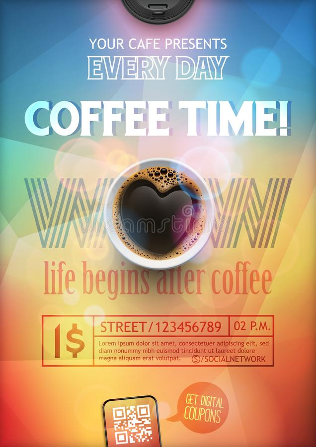 Flye перерыва на чашку кофе или шаблон плана плаката иллюстрация вектора