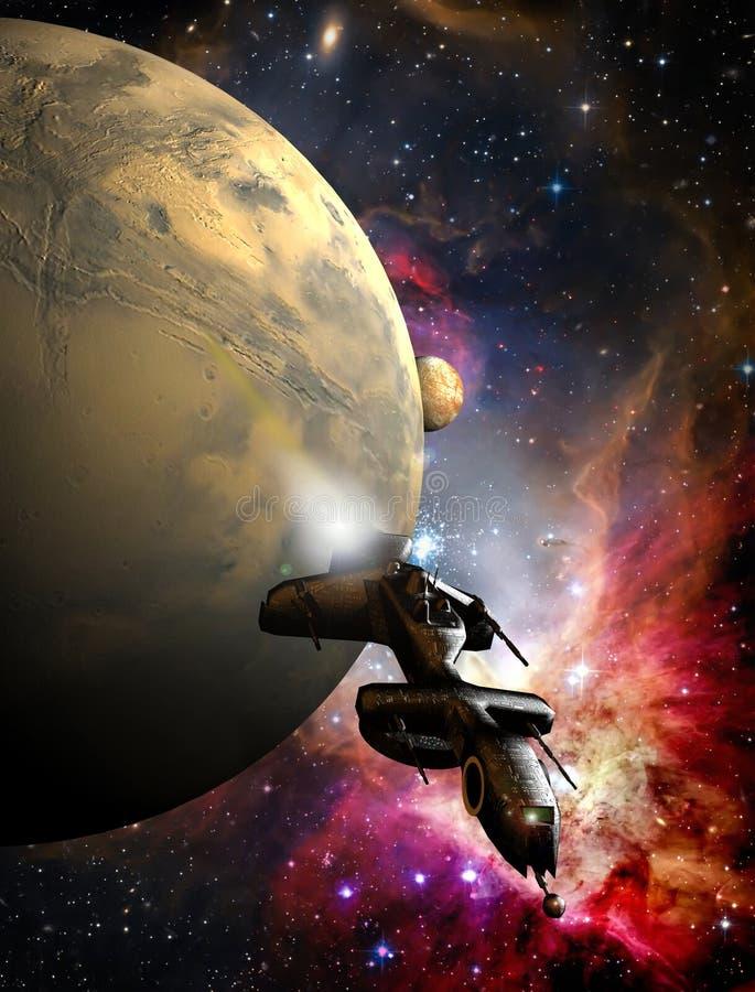 flyende spaceship stock illustrationer