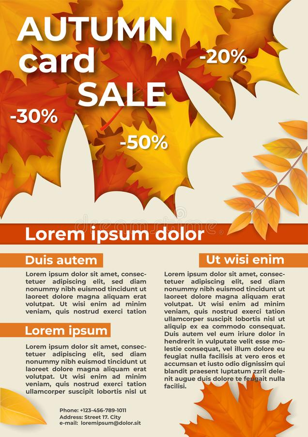 Flyer with autumn offer discounts. stock photos