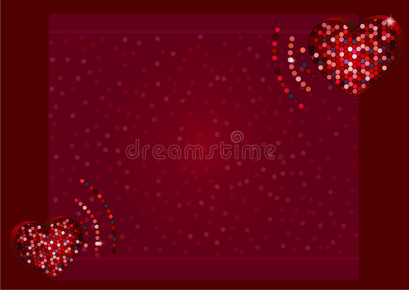 Flyer of beating mosaic heart frame with the place for text. stock photos