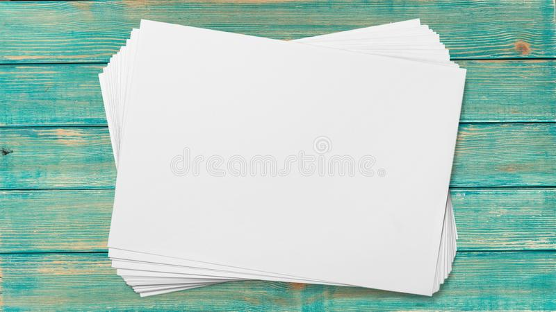 Flyer. Blank stack paper pile white new royalty free stock images