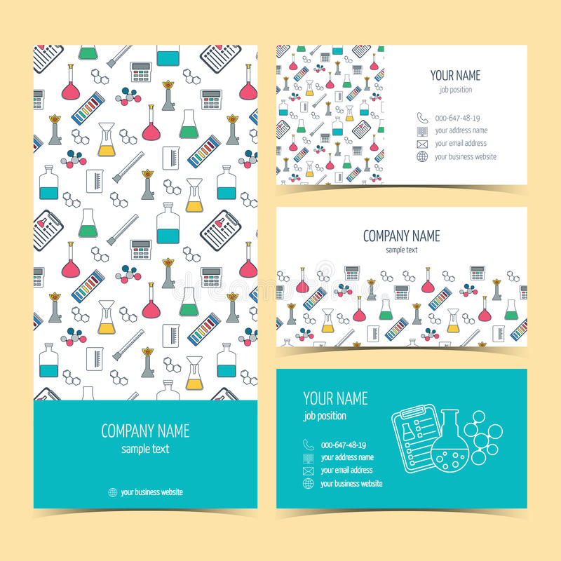 Flyer, brochure and business cards for the chemical, scientific and medical companies. Vector stock illustration