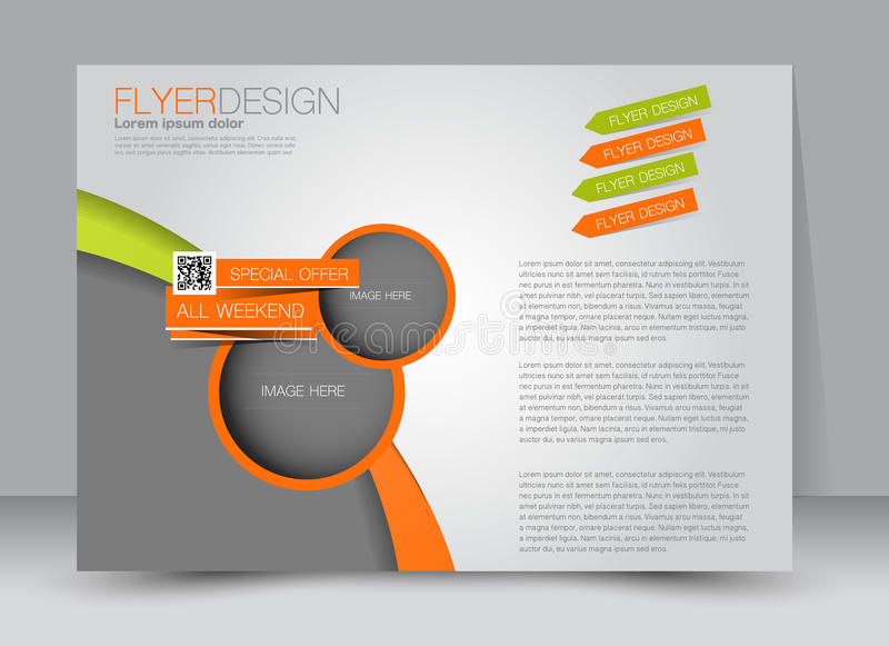 Flyer, brochure, magazine cover template design landscape orientation. For education, presentation, website. Green and orange color. Editable vector stock illustration