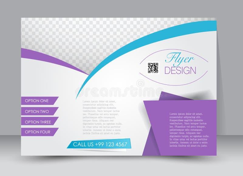 Flyer, brochure, magazine cover template design landscape orientation. For education, presentation, website. Purple and blue color. Editable vector illustration royalty free illustration