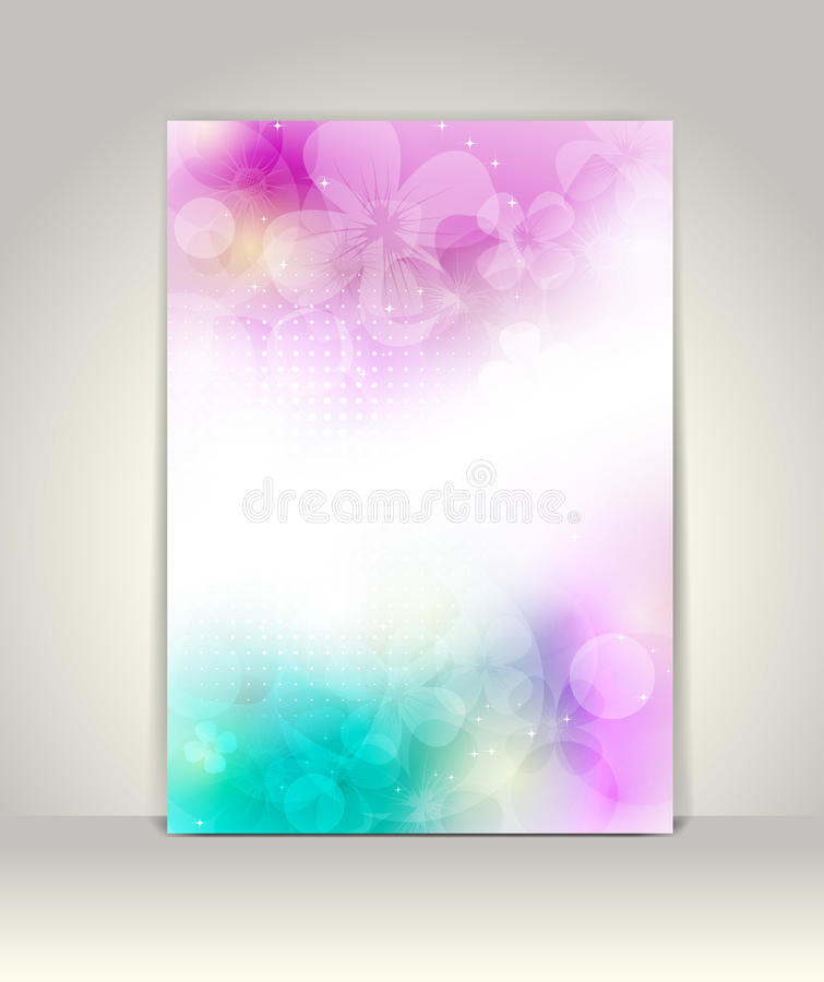 Flyer or brochure template. Flower colorful design royalty free illustration