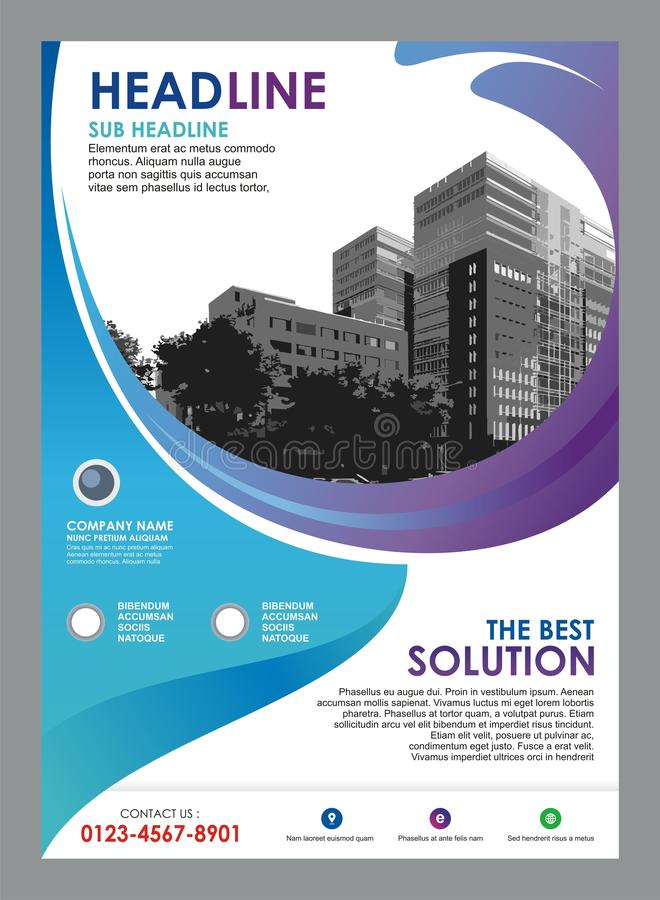 Flyer - brochure template with stylish wave design stock illustration