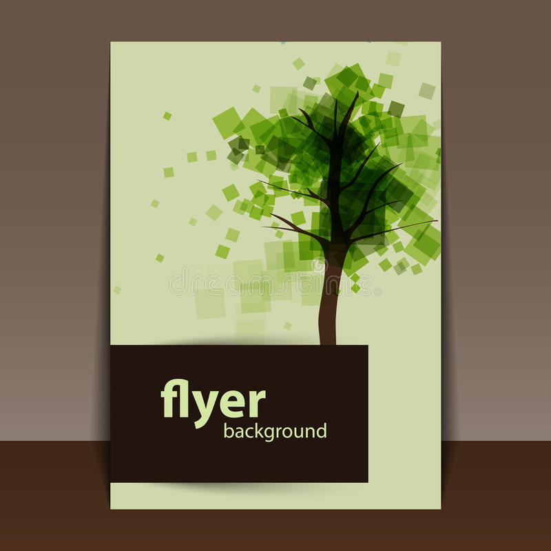 Flyer or Cover Design with Abstract Green Tree royalty free illustration