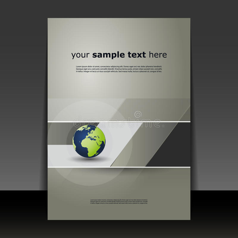 Flyer or Cover Design. Abstract Grey Flyer or Cover Design with Earth Globe for Business or Technology - Illustration in Editable Vector Format