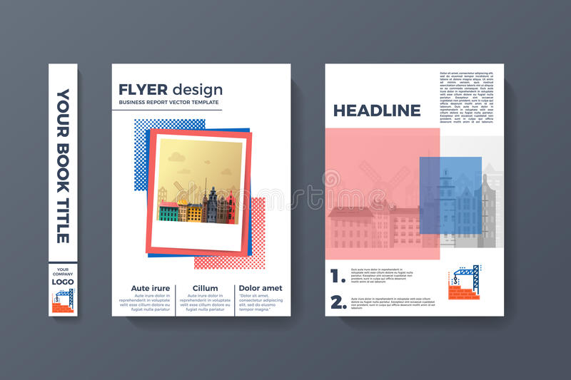 A4 Flyer Design. Brochure template vector. Abstract binder layout. Creative book front, back and spine covers. Material style modern magazine or poster. Annual royalty free illustration